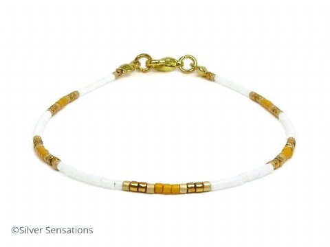 White, Orange & Gold Slim Seed Bead Stacking Bracelet